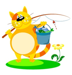 Cat with a fishing rod vector