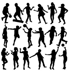 children silhouettes Set vector image