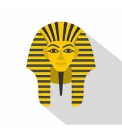 Egyptian golden pharaohs mask icon flat style vector image vector image