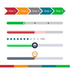 progress bar set loading status bar web vector image