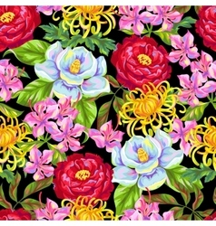 Seamless pattern with China flowers Bright buds vector image vector image