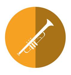 trumpet musician instrument icon shadow vector image vector image