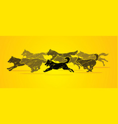 8 dogs running graphic vector