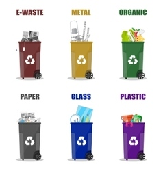 Diffrent waste recycling categories Garbage bins vector image