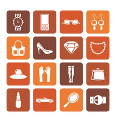 Flat woman and female Accessories icons vector image