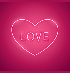 pink love in the heart neon banner vector image vector image