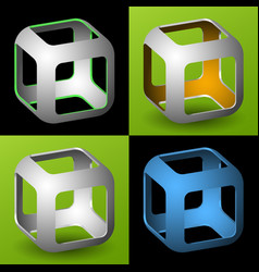 Smoothed 3d cube with openings vector