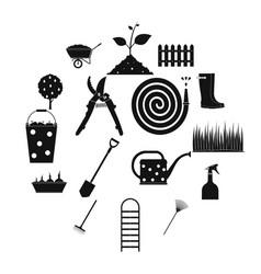 16 garden plain icons set vector image