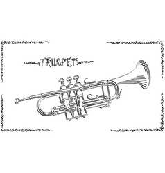 Abstract drawing trumpet vector