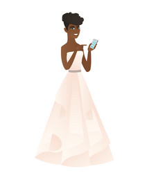 African-american fiancee holding a mobile phone vector