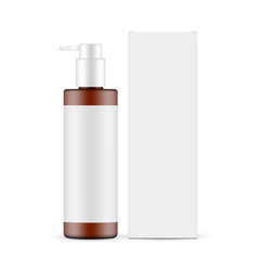 amber pump bottle mockup with paper box vector image