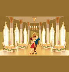 Ballroom hall with dancers in palace vector