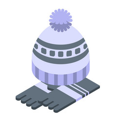 Beanie winter hat icon isometric style vector