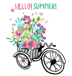 Bike and watercolor flowers vector