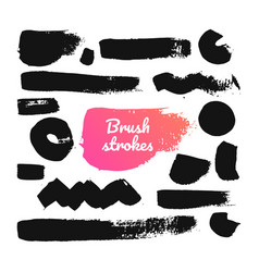 black brush strokes - set isolated design vector image