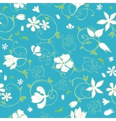 Blue Green White Spring Florals Seamless vector image