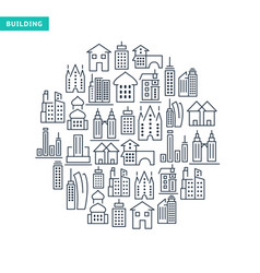 Buildings and immovables lined icons set vector