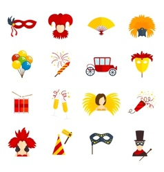 Carnival icons set flat vector