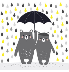 cartoon bears with umbrella vector image