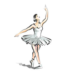 color line sketch of dancing ballerina vector image