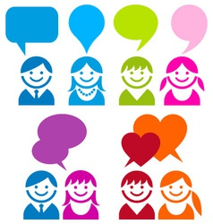 communication people icon set vector image