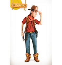 Cowboy cartoon character Adventure 3d icon vector