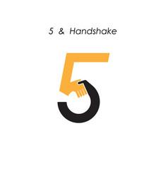 Creative 5- number icon abstract logo design vector