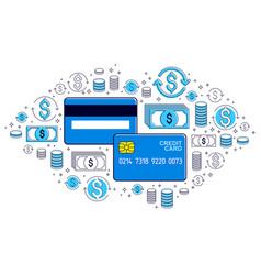 Credit card and financial icon set banking credit vector