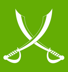 crossed sabers icon green vector image