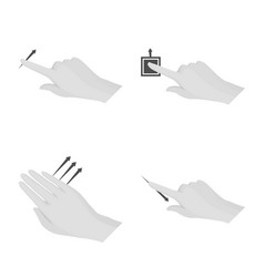 Design of touchscreen and hand logo set of vector