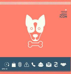 dog with bone- logo symbol protect sign icon vector image