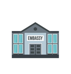 Embassy icon flat style vector