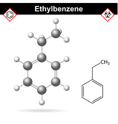 Ethylbenzene organic solvent molecular structure vector