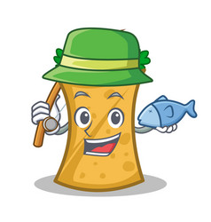 fishing kebab wrap character cartoon vector image