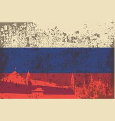 Flag russia building kremlin vector