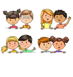 Funny children in pairs different nationalities vector