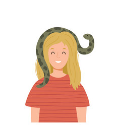 Funny woman with snake vector