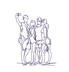 Group of people taking together selfie photo on vector