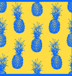 Hand drawn seamless pattern with pineapple vector