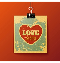 Hanging Love You Retro Card vector image
