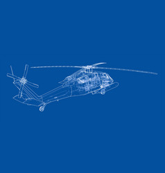 Helicopter outline military equipment vector
