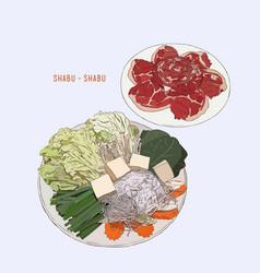 Hot sukiyaki shabu design vector