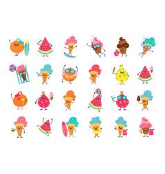 Ice cream funny stickers cartoon food mascot vector