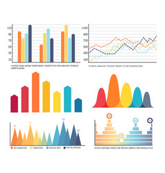 Infographics and charts with lines graphics set vector