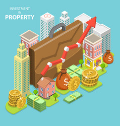 Investment in property isometric flat vector