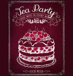invitation card to tea party or birthday vector image
