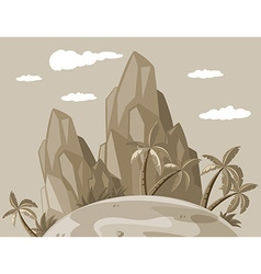 Island view in grayscale vector
