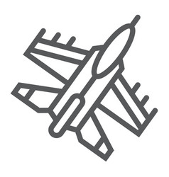 jet fighter line icon air and army airplane sign vector image