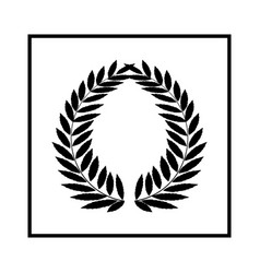 laurel wreath black in square modern symbol of vector image