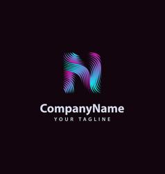 Letter n modern wave line logo design template vector